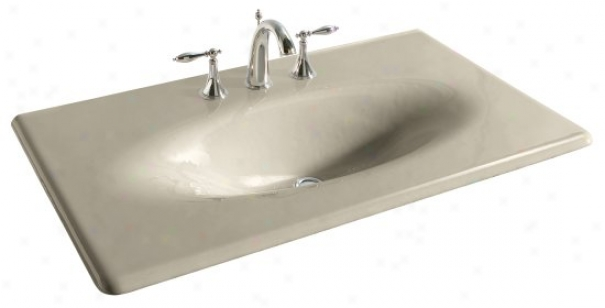 Kohler K-3051-8-g9 Iron/impressions 37 Cast Iron One-piece Surface And Integrated Lavatory With 8