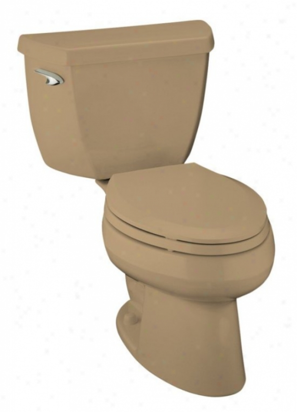 Kohler K-3505-33 Wellworth Classic Pressure Lite Elongated 1.4 Gpf Toilet, Less Seat, Mexican Sand