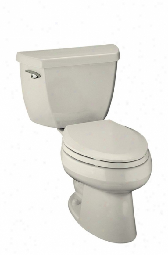 Kohler K-3505-96 Wellworth Classic Affliction Lite Elongated 1.4 Gpf Toilet, Less Seat, Biscuit