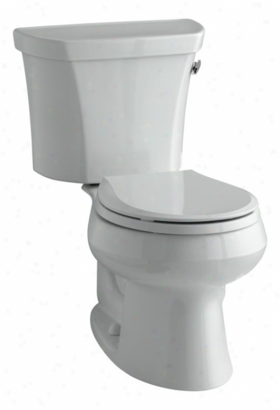 Kohler K-3977-tr-95 Wellworth Round-front 1.6 Gpf Toilet, Right-hand Trip Lever, Tank Locks, Ice Gre