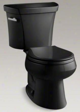 Kohler K-3997-t-7 Wellworth Round-front 1.28 Gpf Toilet, Tank Locks, Black Black