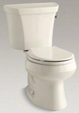 Kohler K-3997-tr-47 Wellworth Round-front 1.28 Gpf Toilet, Right-hand Trip Lever, Tank Locks, Allmond