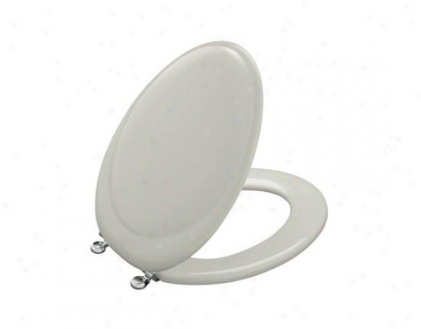 Kohler K-4615-cp-95 Reproduction Round Toilet Seat With Classic Chrome Hinges, Coat  Grey