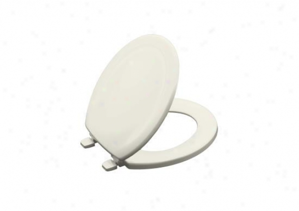 Kohler K-4648-96 Stonewood Round, Closed-front Toilet Seat, Biscuit