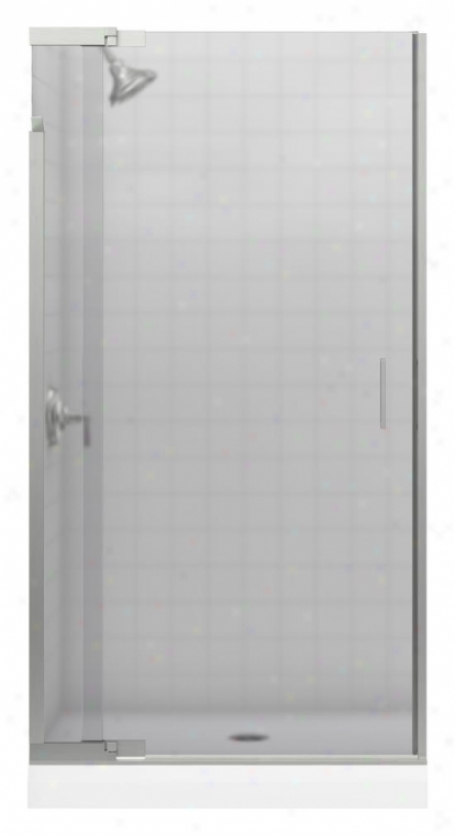 Kohler K-702012-d3-bn Purist Frameless Pivot Shower Door With Frosted Glass, Vibrant Brushed Nickel