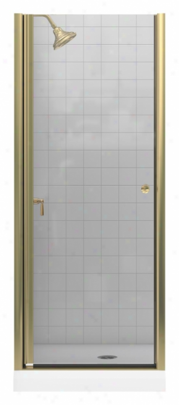 Kohler K-7O1400-l-abv Fluence Frameless Pivot Shower Door With Crystal Clear Glass, Anodized Brushed
