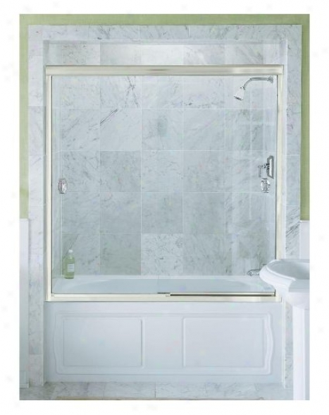 Konler K-704410-l-mx Devonshire Bypass Bath Door With Crystal Clear Glass, 59-5/8 X 58-5/16, Matte