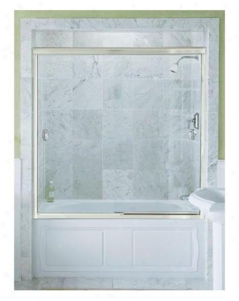 Konler K-704410-l-mx Devonshire Bypass Bath Door With Crystal Clear Glass, 59-5/8 X 58-5/16, Matte