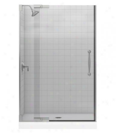 Kohler K-705728-l-bh Finial Heavy Glass Pivot Shower Door, Bright Brwss