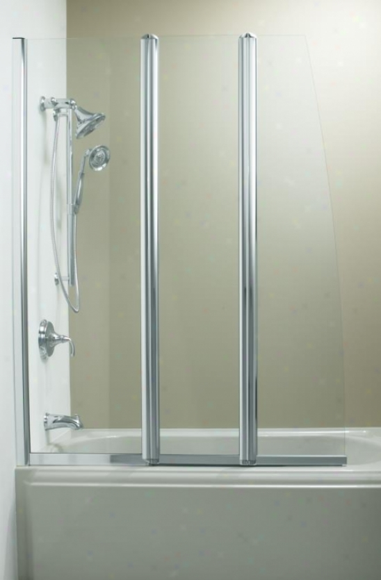 Kohler K-705792-l-shp Minima Left-hand Triple-panel Bath Screen, Bright Polished Silver