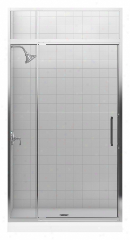 Kohler K-705809-l-sh Lattis 1/4 Pivot Door With Transom, Bright Silver