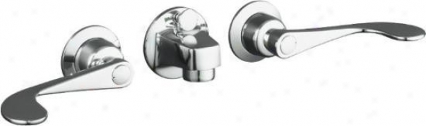 Kohler K-8040-5a-cp Triton Shelf-back Lavatory Faucet With Pop-up Drrain And Wristblade Lever Handle