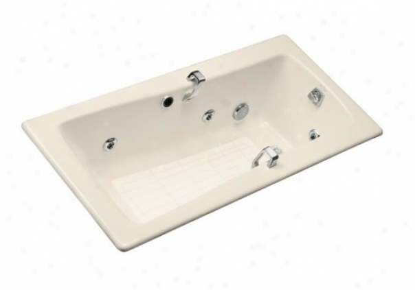 Kohler K-842-h2-47 Maestro Whirlpool With Grip Rail Drillings, Almond