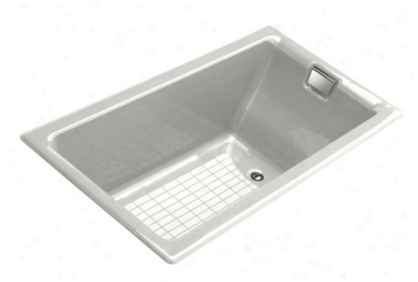 Kohler K-855-l-ff Tea-for-two 5.5' Bath With Integral Tie Flange And Left-hand Drain, Sea Salt