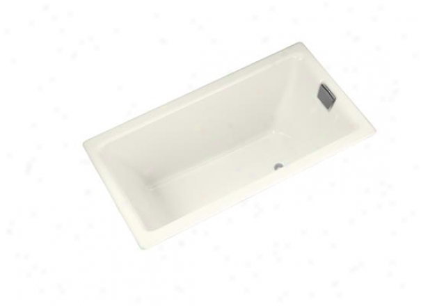 Kohler K-855-r-96 Tea-for-two 5.5' Bath Wkth Integral Tile Flange And Right-hand Drain, Biscuit