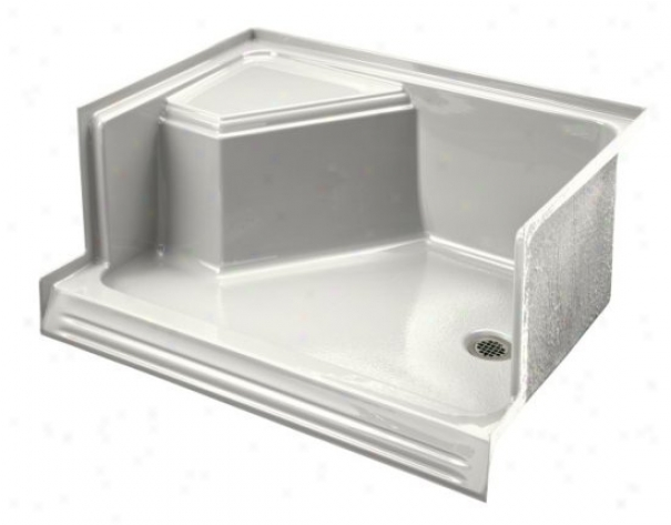 Kohler K-9488-0 Memoirs 48 Shower Receptor With Integral Seat At Left And Right-hand Drain, White