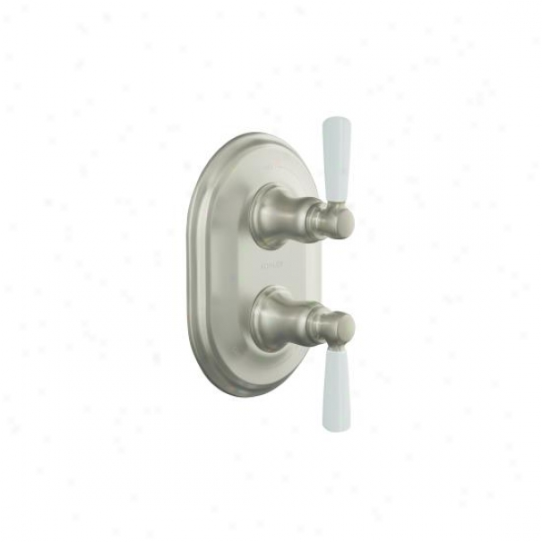 Kohler K-t10594-4p-bn Bancroft Stackeed Thermostatic Trim With White Ceramic Lever Handle, Valve Not