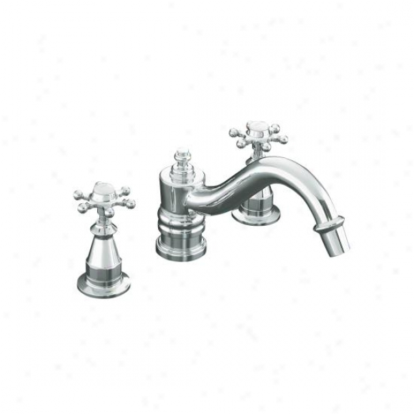 Kohler K-t125-3-cp Antique Deck-mount High-flow Bath Faucet Trim With Six-prong Handles, Valve Not I