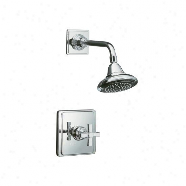 Kohler K-t13134-3a-bv Pinstripe Pure Ritetemp Pressure-balancing Shower Faucet Trim With Cross Handl