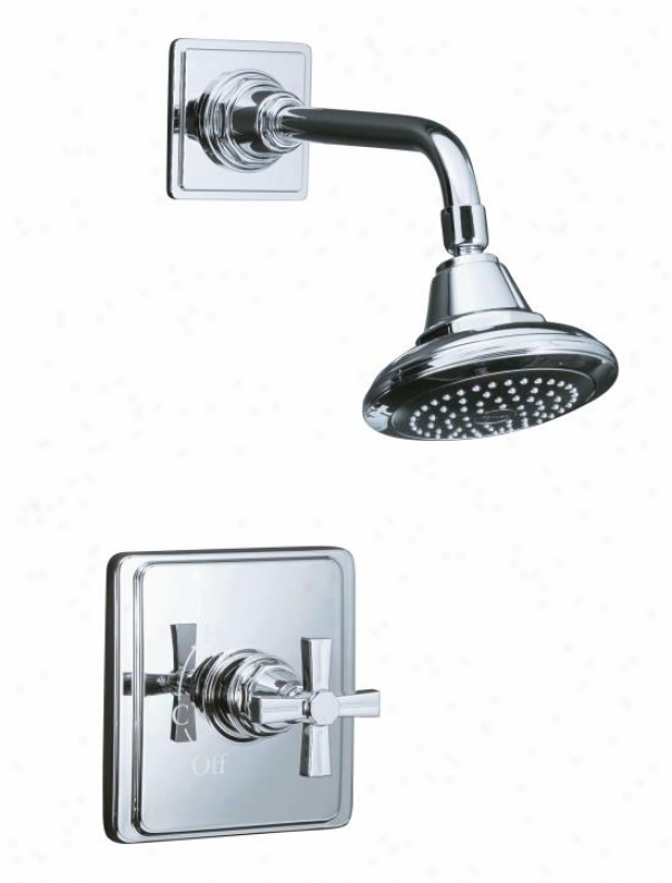 Kohler K-t13134-3b-bv Pinstripe Ritetemp Pressure-balancing Shower Faucet Trim With Cross Handle, Va