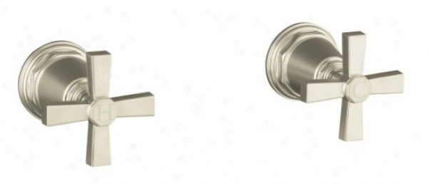 Kohler K-t13141-3a-sn Pinstripe Pure Bath Or Deck-moynt High-flow Bath Valve Trim With Cross Handles