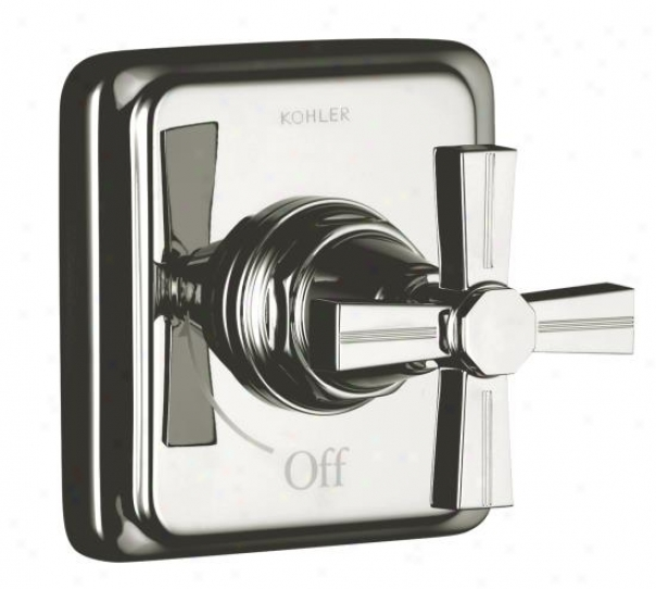 Kohler K-t13174-3b-sn Pinstripe Volume Control Trim, Cross Handle, Valve Not Included, Vibrating Polis