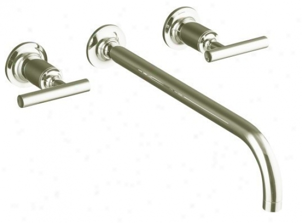Kohler K-t14416-4-n Purist Two Handle Wall-mount Lavatory Faucet Trim With 12 Spout And Lveer Hand