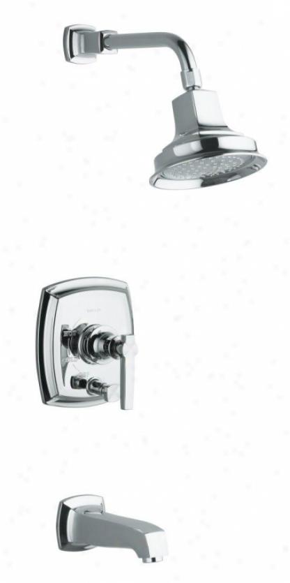 Kohler K-t16233-4-cp Margaux Rite-temp Pressure-balancing Bath And Shower Faucet Trim Attending Push-butt
