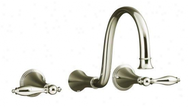 Kohler K-t343-4m-sn Finial Traditional Wall-mount Lavatory Faucet Trim With Lever Handles And 9 Spo