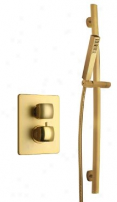 La Toscana Showerlaok1 Lady Themrostatic Valve And Slide Bar Shower Trim Kig, Satin Gold