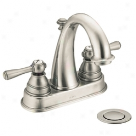 Moen 6121an Kingsley Two Handle High Arc Lavatory Faucet With Drain Assembly, Antique Nickel