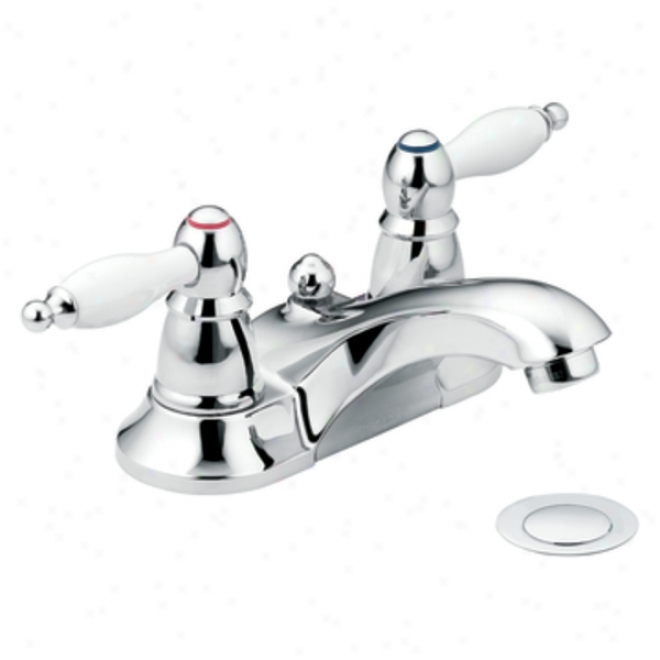 Moen Ca84429 Wickston Two Handle Low Arc Lavatory Faucet, Chrome