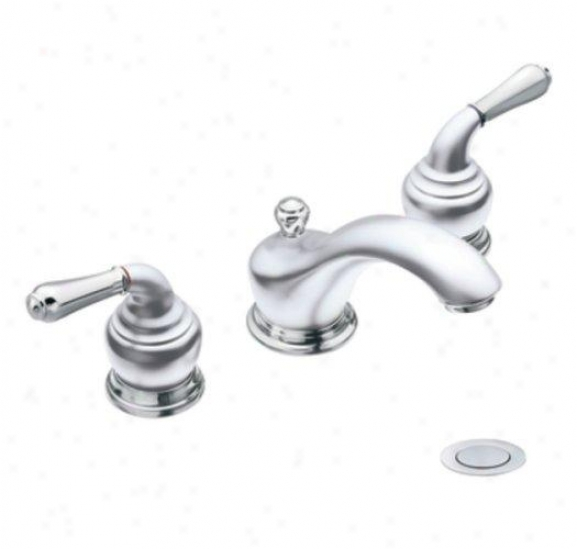 Moen Cat4570pmc Monticello Two-handle Widespread Lavatory Faucet, Platinum And Chrome
