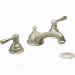 Moen Cat6105an Kingsley Two-handle Low Arc Bathroom Faucet, Antique Nickel
