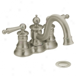 Moen Showhouse S412bn Waterhikl Two Handle Lavatory Faucet With Drain Assembly, Brushed Nickel