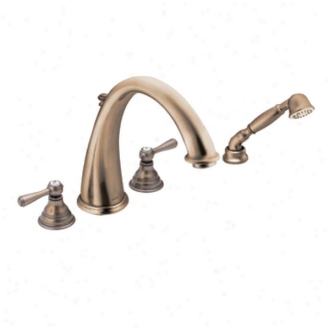 Moen T922az Kingsley Two-handle High Arc Roman Tub Faucet Includes Hand Shower, Antique Bronze