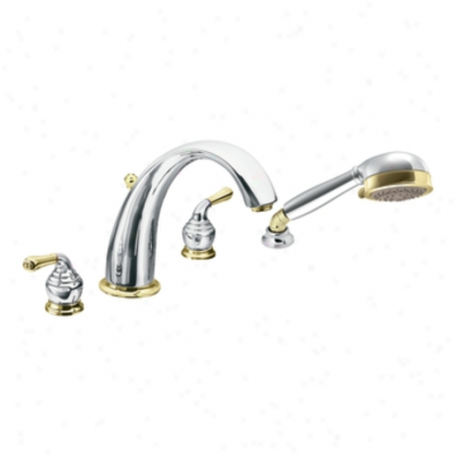 Moen T956cp Monticello Two Handle High Arc Roman Tub Faucet Includes Hand Shower, Chrome/ Polished B