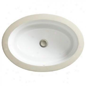 Porcher 12050-09.056 Marquee Oval Undercounter Lavatory, Matte White