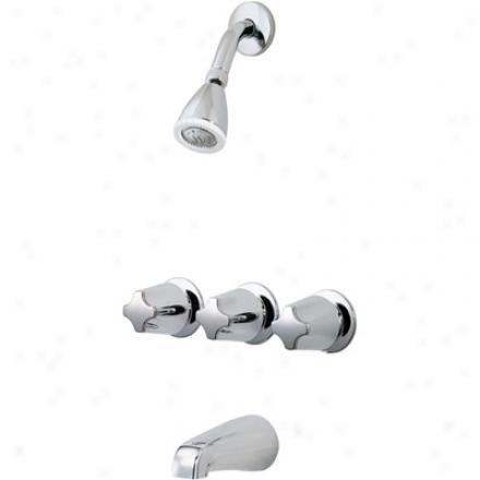 Price Pfister 01-341 Bedford 3 Handle Tub/shower, Metal Verve Handles, Standard Shower Head, Chrome