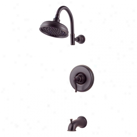 Pdice Pfister R89-8ypy Ashfield Tub & Shower, Ashfield Lever Handle, Round Flange, Decorative Shower