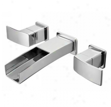 Price Pfister T49-df1c Twi Handle Wall Mount Lavatory Bathroom Faucet, Polished Chrome