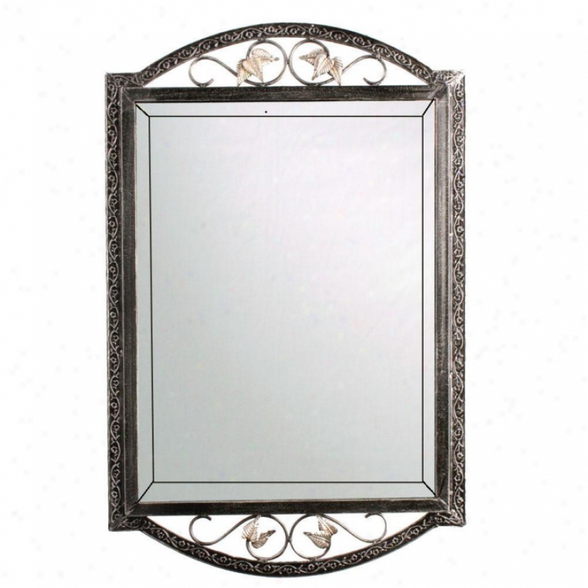River's Edge R-62625-bk English Forge Wrought Iron Mirror, Black Nickel