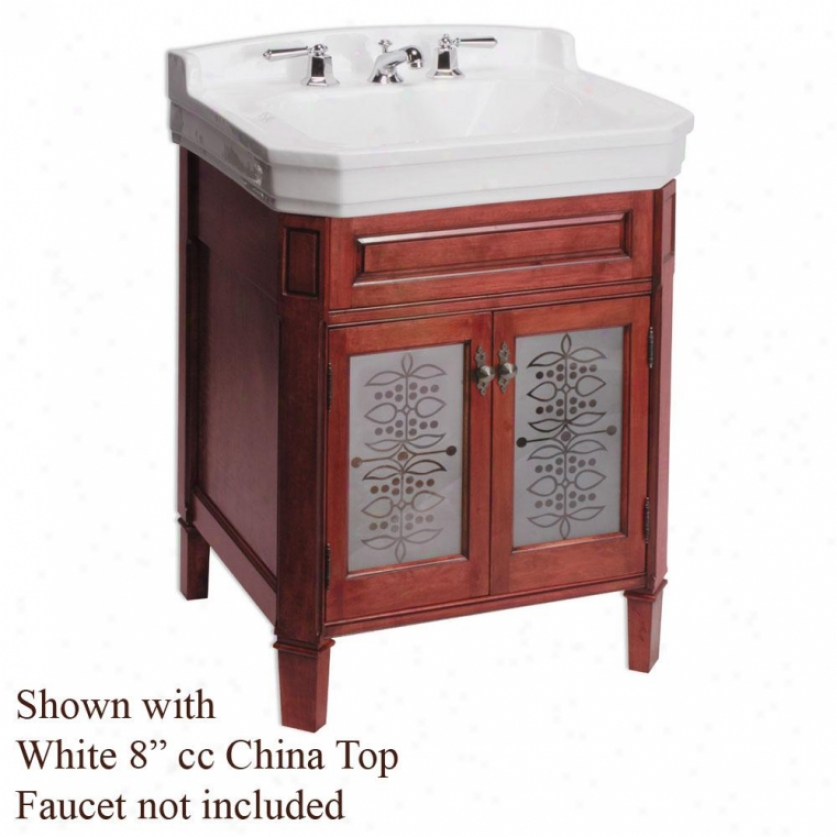 River's Edge -R83223-5000-4 Whitehall Lane Vanity With Glass Doors, Bordeaux, White, 4 Cc