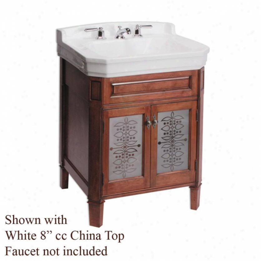 River's Edge R-83223-7000-4 Whitehall Lane Vanity With Glass Doors, Cinnamon, Whitw, 4 Cc