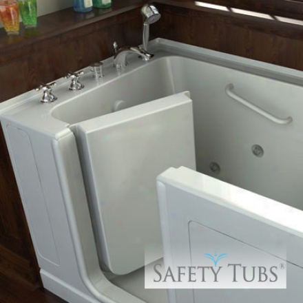 Safety Tubs St4828la-bc 48 X 28 X 37 Acrylic Walk-in Bath, Air Spa System, Left Hand Drain, Biscu