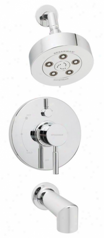 Speakman Sm-1430-p Neo Shower Head And Tub Spout With Pressure Valve And Diverter, Polished Chrome