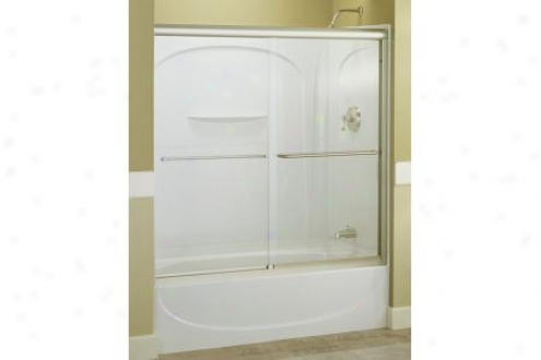 Sterling 5425-59s-g70 Finesse Bath Door Frameless 55-3/4h X 54-5/8 - 59-5/8w W/cleancoat Tulle Gla