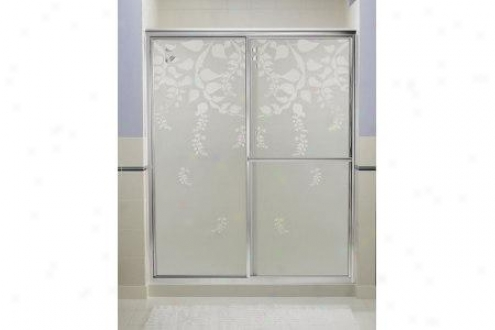 Sterling 5975-59n-g18 Deluxe Shower Door 70h X 54-3/8 - 59-3/8w Smooth/clear Glass Leaflet Pattern