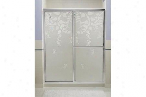 Sterling 5975-59s-g62 Deluxe Bath Door 70h X 54-3/8 - 59-3/8w Templar Glass SmoothS ilver