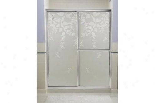 Sterling 5975-59x-g63 Deluxe Bath Door 70h X 43-7/8 - 48-7/8w Bishop's Lace Glass Smooth Silver
